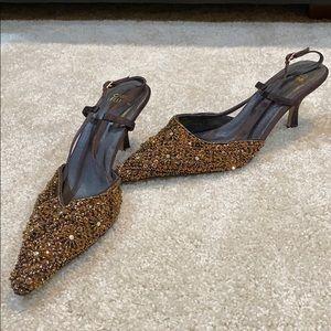 CARLO FELLINI Copper Brown Embellished Heels
